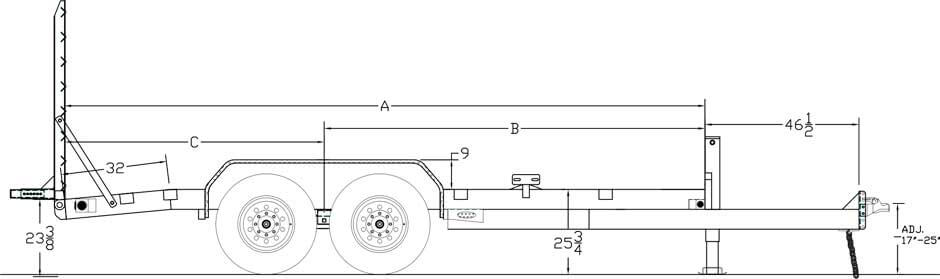 "Line Drawing for Big Tex 14ET 83"" x 16 Tandem Axle Equipment Trailer"