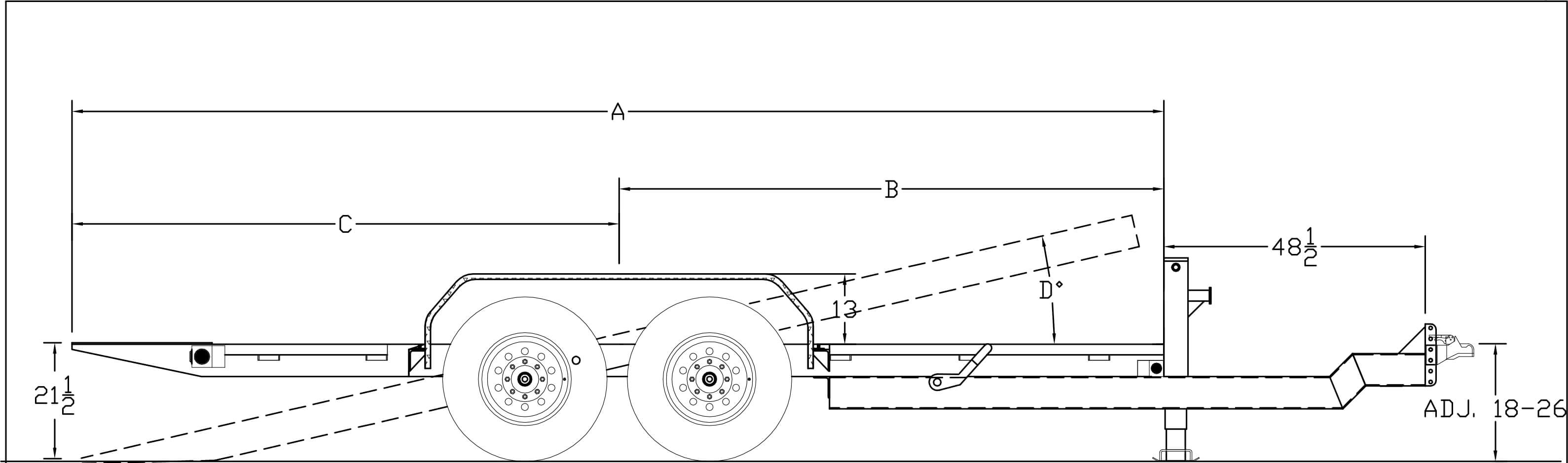 Line Drawing for **RENTAL TRAILER** 20' Full Tilt Rental Trailer - $99/Day - WEEKEND, WEEKLY & MONTHLY RATES AVAILABLE