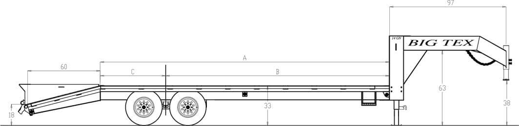 Line Drawing for Big Tex 14GN 14,000#,TA,GN,(8 1/2 x 20 +5 Black,5DT with 2-MegaRamps
