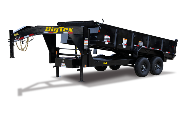 "Big Tex 14GX 16' x 84"" Heavy Duty Tandem Axle Extra Wide Gooseneck Dump"