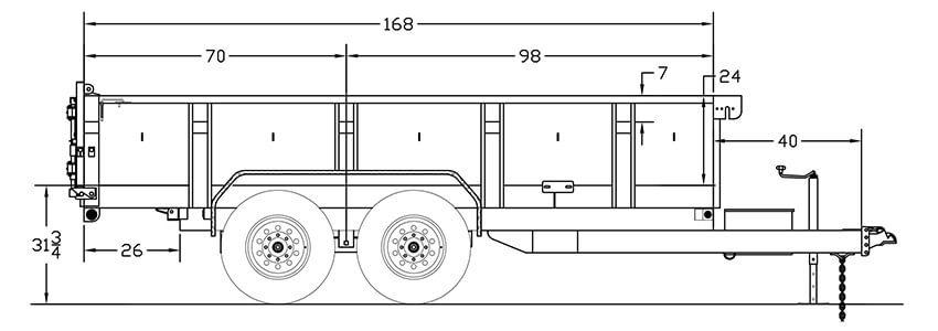 Heavy Duty Tandem Axle Extra Wide Dump Trailer