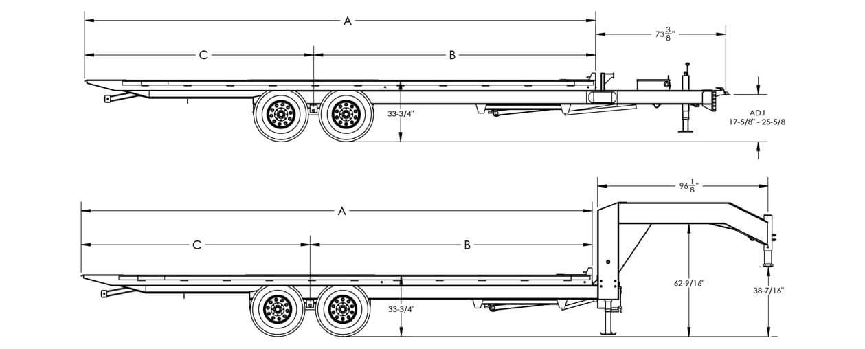 "Line Drawing for Big Tex 14OT 14K OVER/AXLE TILT (102""x 22)"