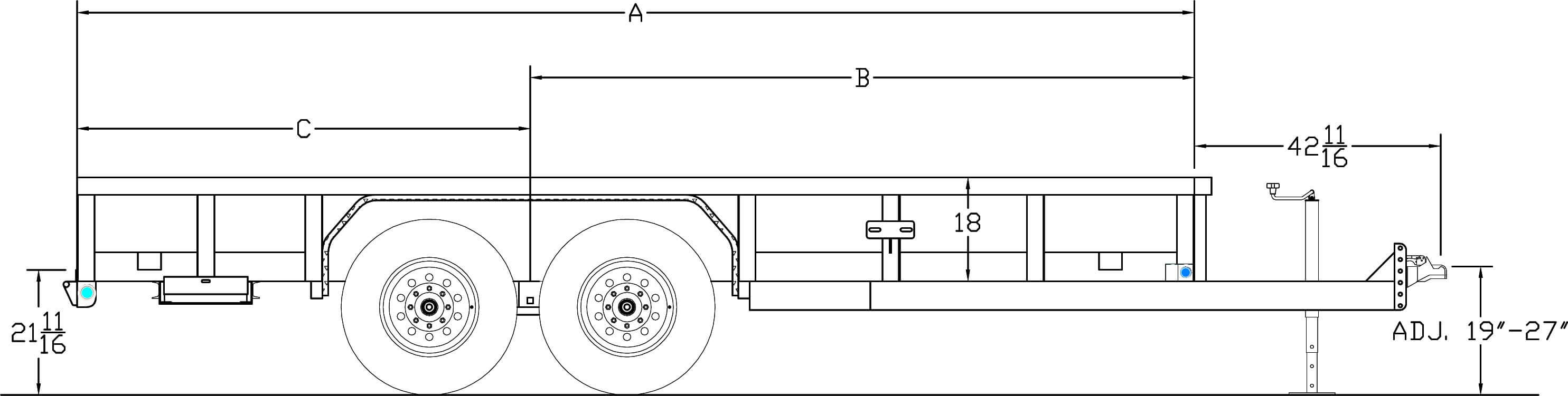 Line Drawing for 18' HD PIPE TOP UTILITY - 7K TANDEM AXLES - 4' SLIDE IN RAMPS