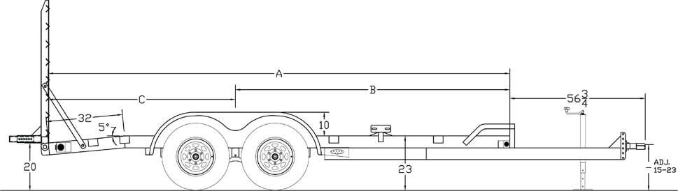 "Line Drawing for Big Tex 10ET 83"" x 20 Pro Series Tandem Axle Equipment Trailer"