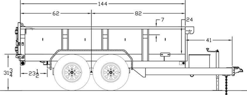 Line Drawing for Big Tex 10LX Pro Series 12ft Dump Trailer w/ Scissor Hoist, Ramps, Powder Coated 10LX-12BK7SIR