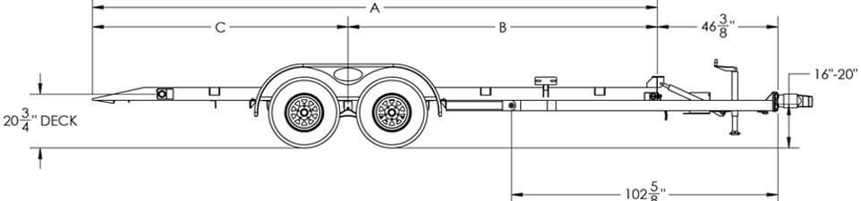 """Line Drawing for Big Tex 70CT 83"""" x 18 Tandem Axle Car Hauler Tilt"""