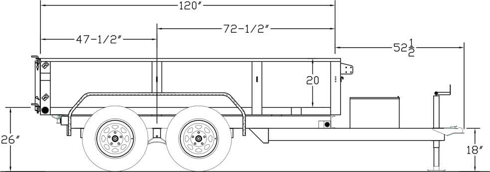 Line Drawing for -10' x 5' Tandem Axle, Single Ram Dump-