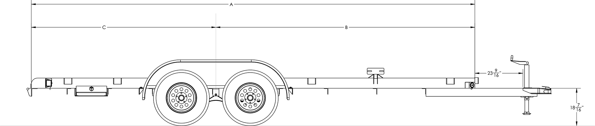 Line Drawing for Big Tex 16' Economy Style Car Hauler with Brakes on 2 Axles 60EC-16BK2B