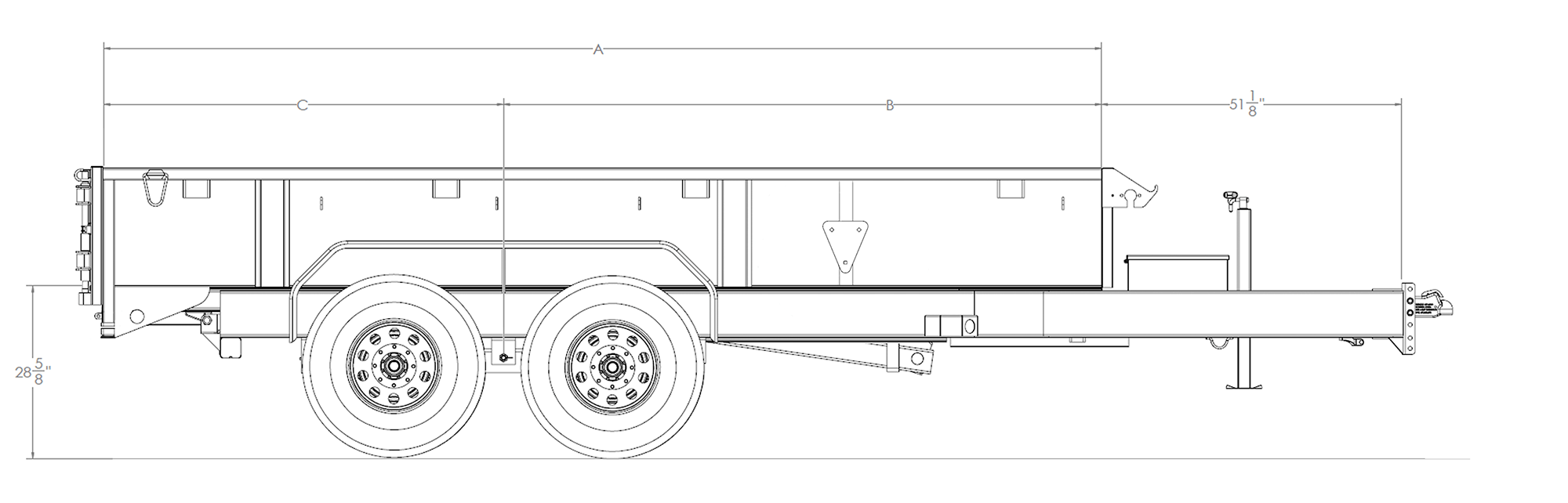 "Line Drawing for Big Tex 14LD 83"" x 14  Low Profile Dump"