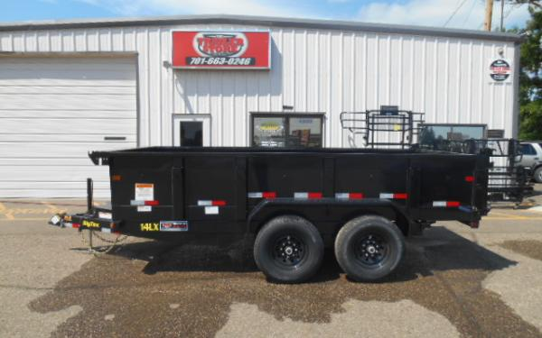 14' DUMP TRAILER - HYDRAULIC JACK - 7K TANDEM AXLES - RAMPS INCLUDED