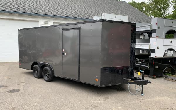 """2019 Covered Wagon 85x18 ramp 6'6"""" tall Blackout"""