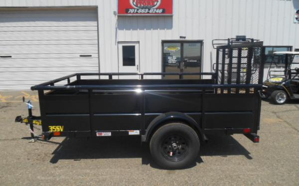12' VANGUARD TRAILER - 3.5K SINGLE AXLE - 2' SIDE WALLS - 4' RAMP GATE