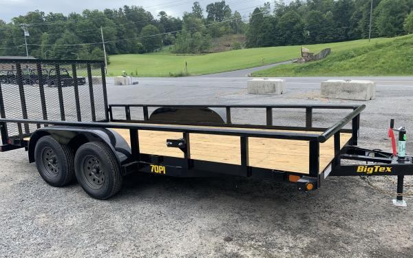 "Big Tex 70PI-X 83"" x 16 Tandem Axle Pipe Top Utility Trailer"