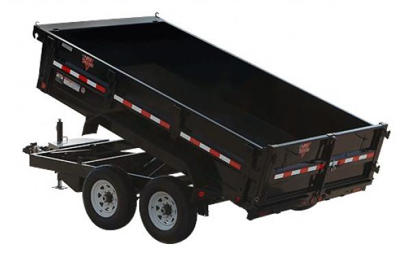 """PJ Trailers 83"""" Tandem Axle Dump (D7) W/ 4' Sides & 17.5's"""