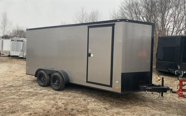 """2020 Covered Wagon 7x16 Ramp door 6'6"""" tall Blackout"""