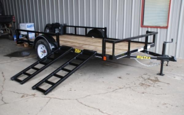 Single Axle Bumper Pull Utility Trailer w/ Side ATV Ramps