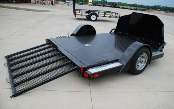 Big Tex Motorcycle Trailer w/ Steel Rock Shield & Tool Box
