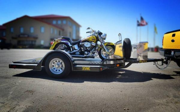 Big Tex Motorcycle Trailer w/ Aluminum Rock Shield & Tool Box