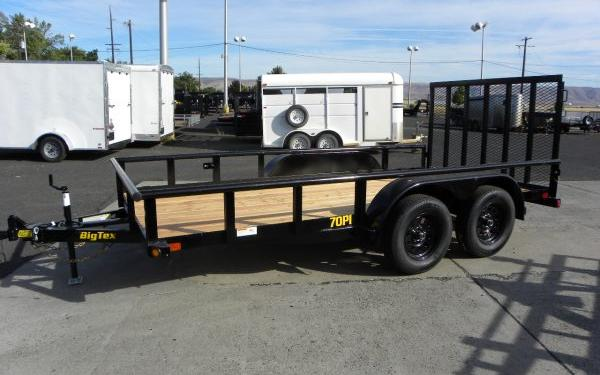 "Big Tex 70PI-83"" x 18 Tandem Axle Pipe Top Utility Trailer"