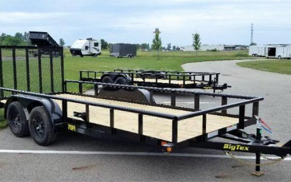 "Big Tex 70PI-83"" x 16 Tandem Axle Pipe Top Utility Trailer"