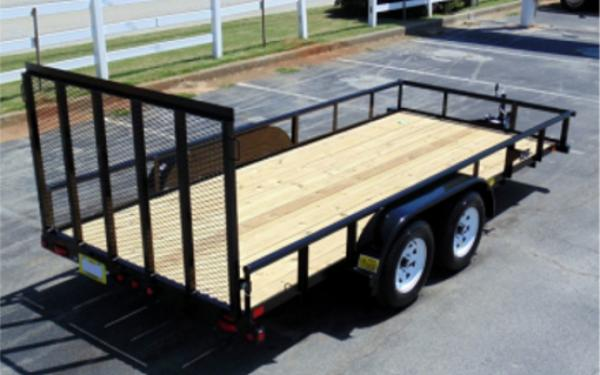 "45SS-77"" x 16 Economy Tandem Axle Pipe Top Utility Trailer"