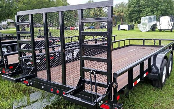 """10PI-83"""" x 18 Pro Series Tandem Axle Pipe Top Utility Trailer"""