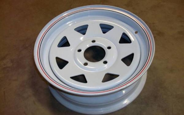 WHEEL-15X5 ON 5 4.75 WHITE SPOKE