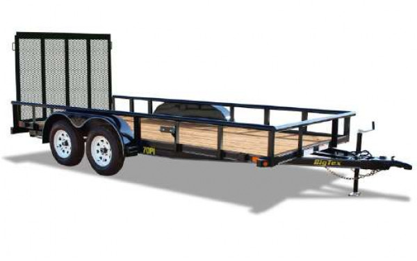 7x20 Big Tex Utility Trailer Heavy Duty Pipe Top Rail