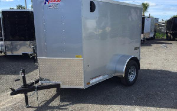 5x8 Pace American Cargo Trailer w/ V-Nose, Ramp Door, Side Door Silver COLOR