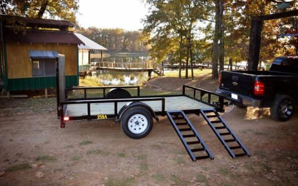 "Big Tex 77""x12' Single Axle ATV Trailer w Ramp Sides"