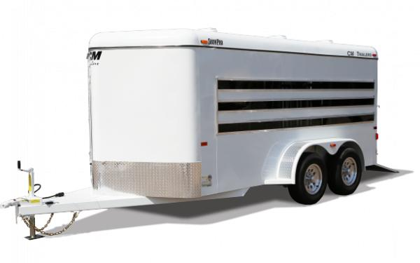 2019 CM ShowPro Steel Bumper Pull Sheep/Swine Trailer w/ Front Straight Tack Room & Wedge Nose