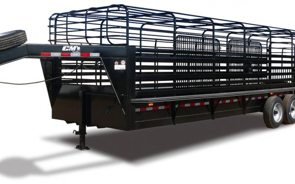 2019 CM Brushbuster BT Steel Gooseneck Bar Top Stock Trailer with High Brush Fenders