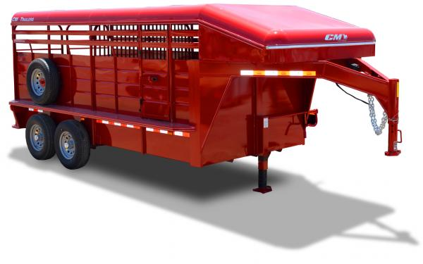 2019 CM Brushbuster MT Steel Gooseneck Covered Top Stock Trailer with High Brush Fenders