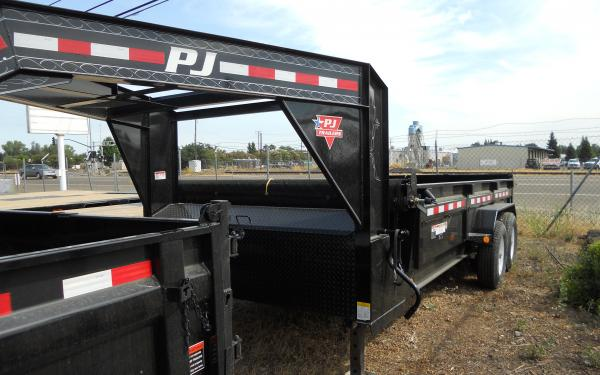 PJ Trailers 7'x14' 14K Low Pro goose neck Dump Trailer 5045 S2 k2